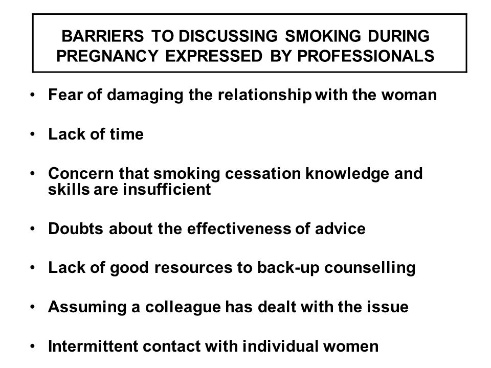 BARRIERS TO DISCUSSING SMOKING DURING PREGNANCY EXPRESSED BY PROFESSIONALS