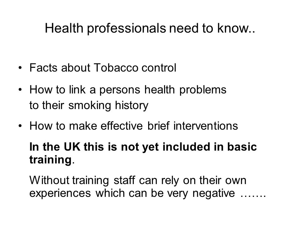 Health professionals need to know..