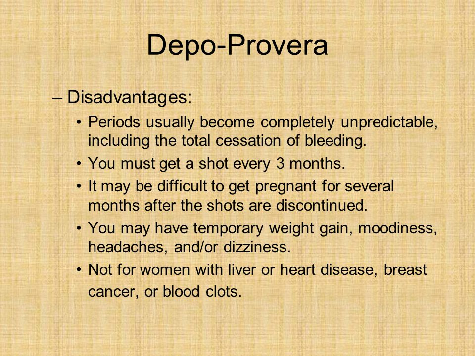 Depo-Provera Disadvantages: