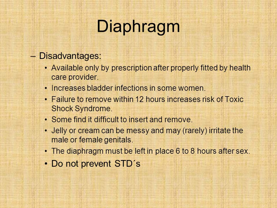 Diaphragm Disadvantages: Do not prevent STD´s