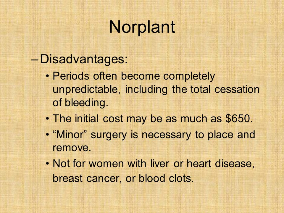 Norplant Disadvantages: