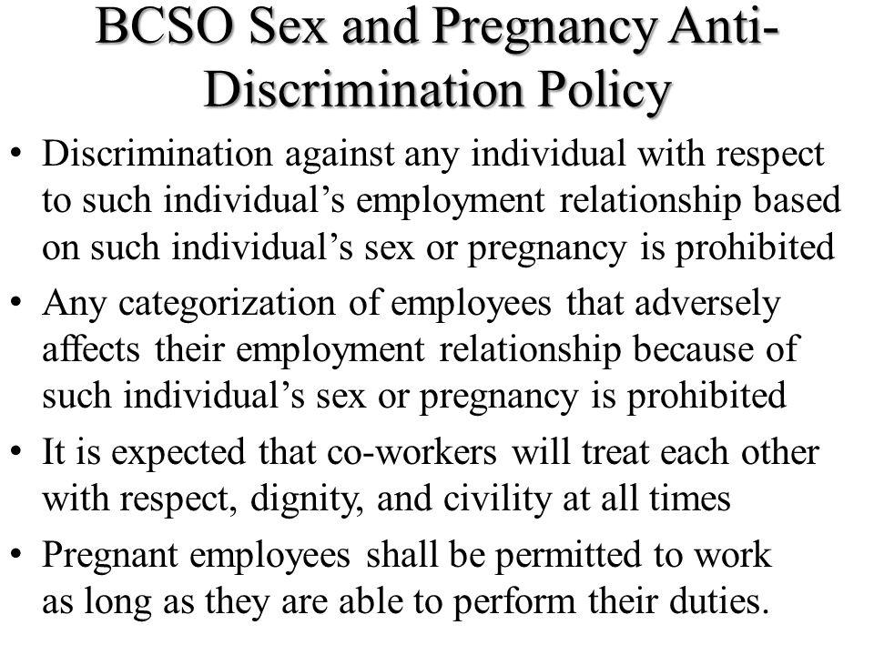 BCSO Sex and Pregnancy Anti-Discrimination Policy