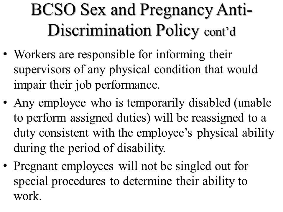 BCSO Sex and Pregnancy Anti-Discrimination Policy cont'd