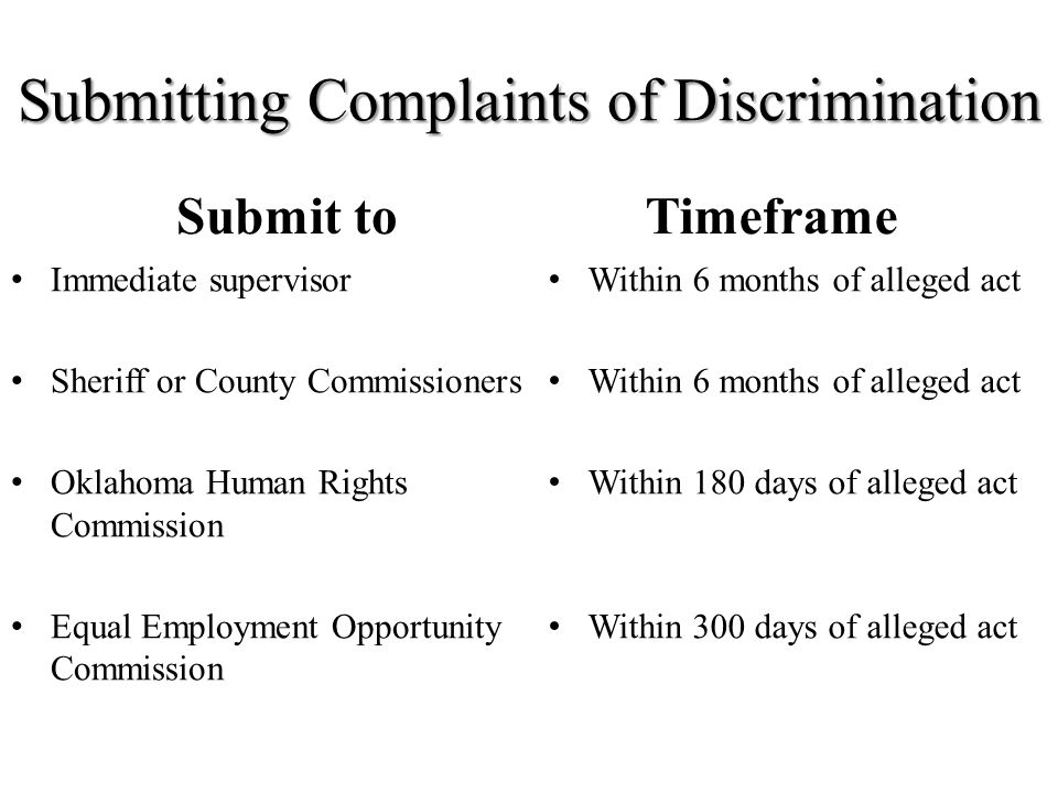 Submitting Complaints of Discrimination