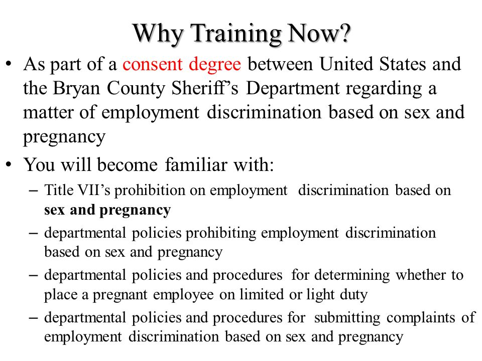 Title VII Why Training Now