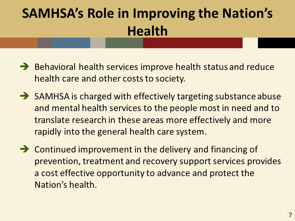 SAMHSA's Role in Improving the Nation's Health