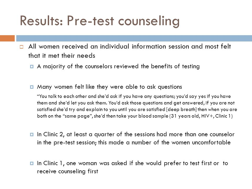 Results: Pre-test counseling