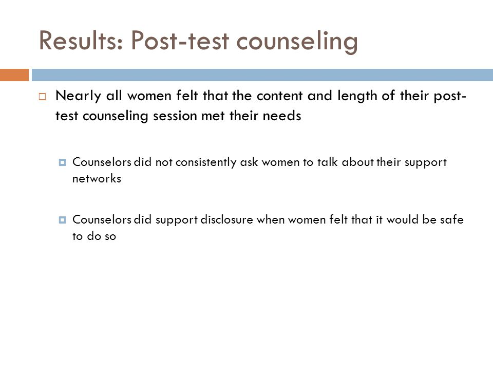 Results: Post-test counseling
