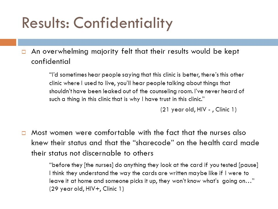 Results: Confidentiality