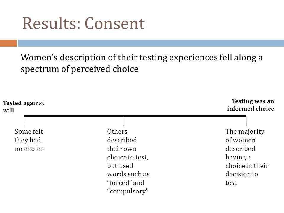 Results: Consent Women's description of their testing experiences fell along a spectrum of perceived choice.