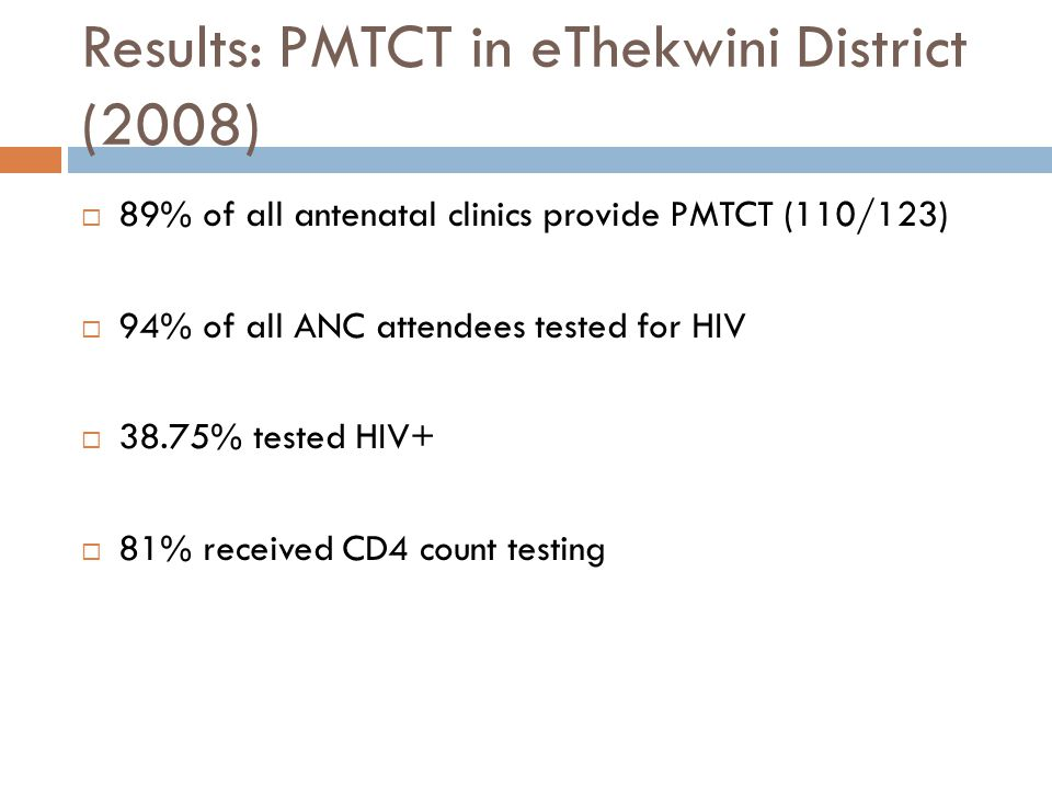 Results: PMTCT in eThekwini District (2008)