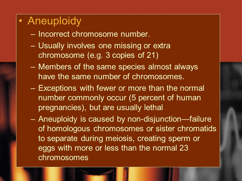 Aneuploidy Incorrect chromosome number.