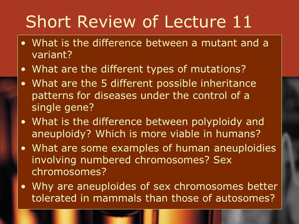 Short Review of Lecture 11