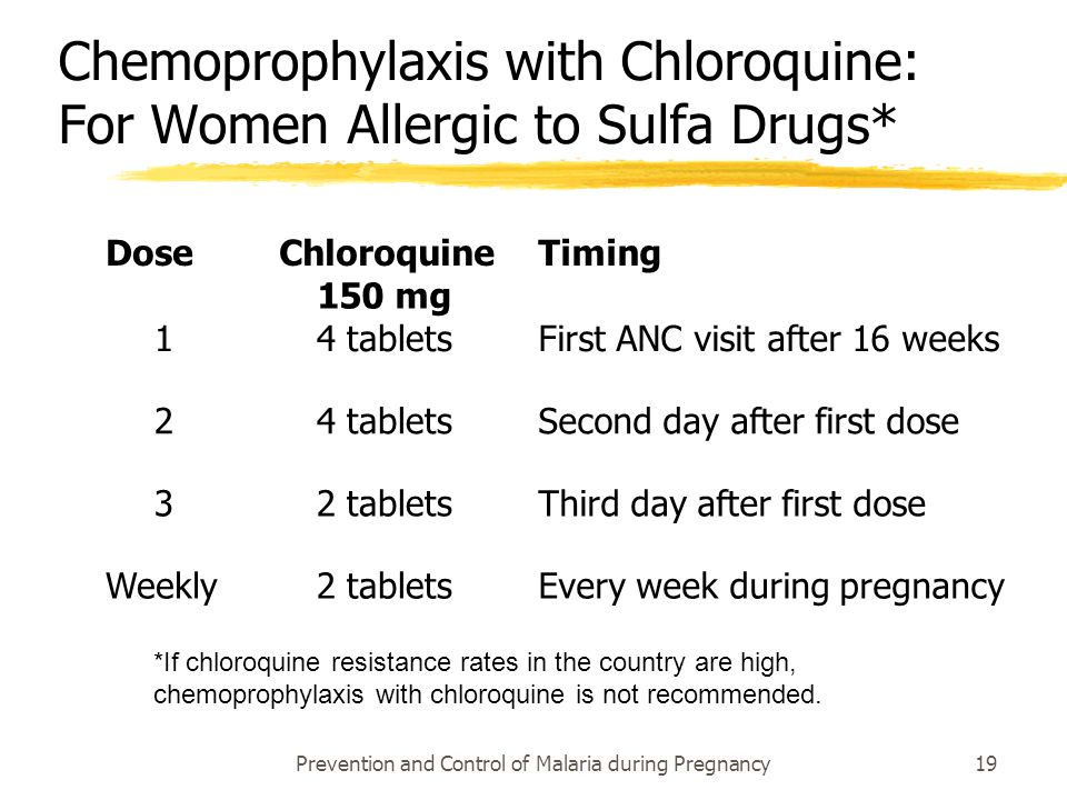 Chemoprophylaxis with Chloroquine: For Women Allergic to Sulfa Drugs*