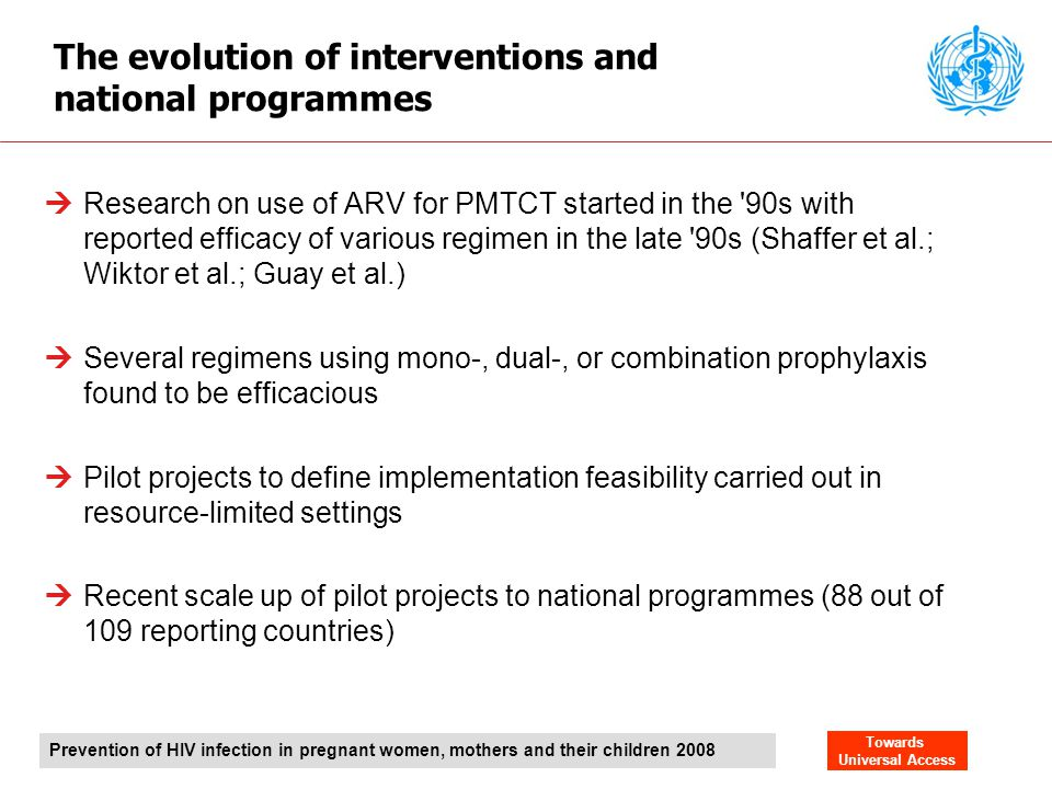 The evolution of interventions and national programmes
