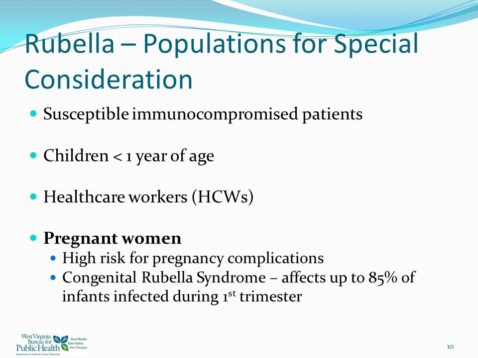 Rubella – Populations for Special Consideration
