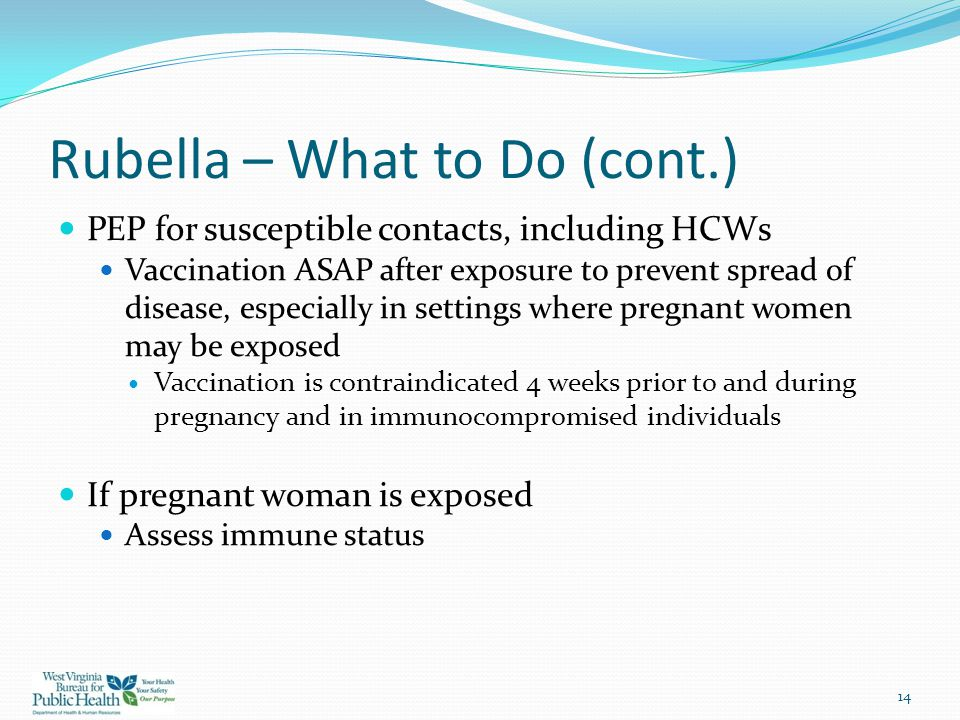 Rubella – What to Do (cont.)