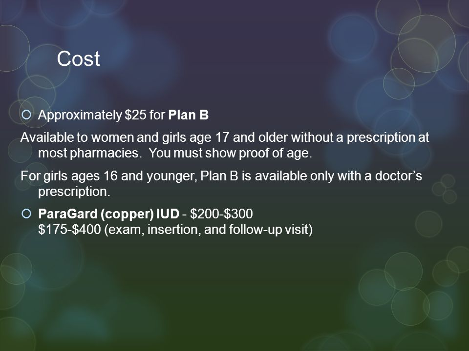 Cost Approximately $25 for Plan B