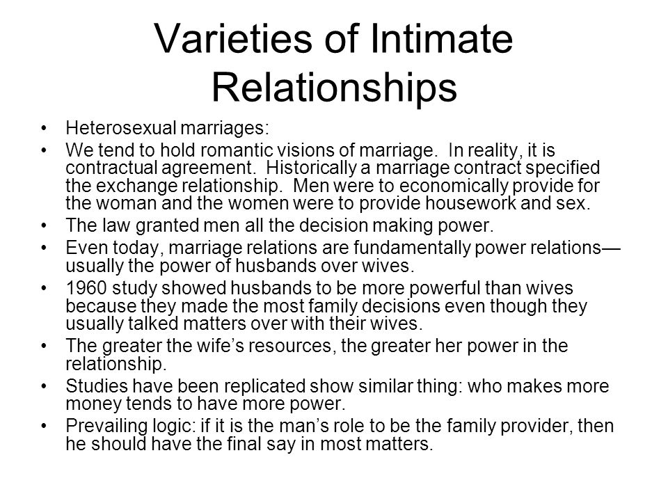 Varieties of Intimate Relationships