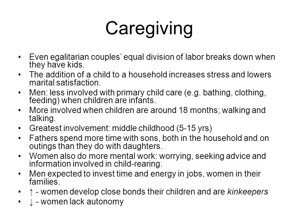 Caregiving Even egalitarian couples' equal division of labor breaks down when they have kids.