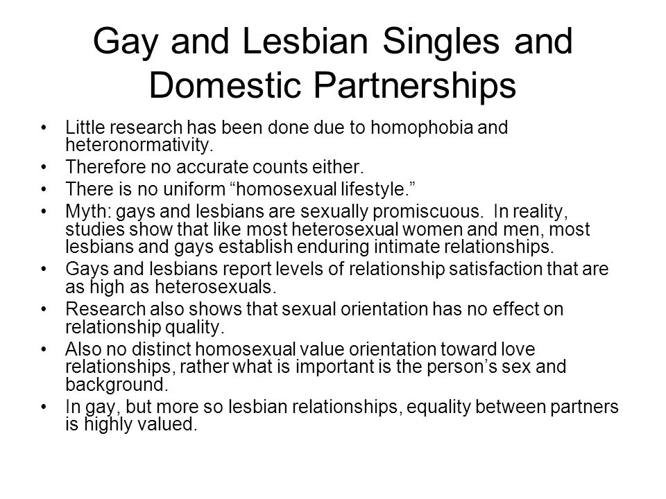 Gay and Lesbian Singles and Domestic Partnerships