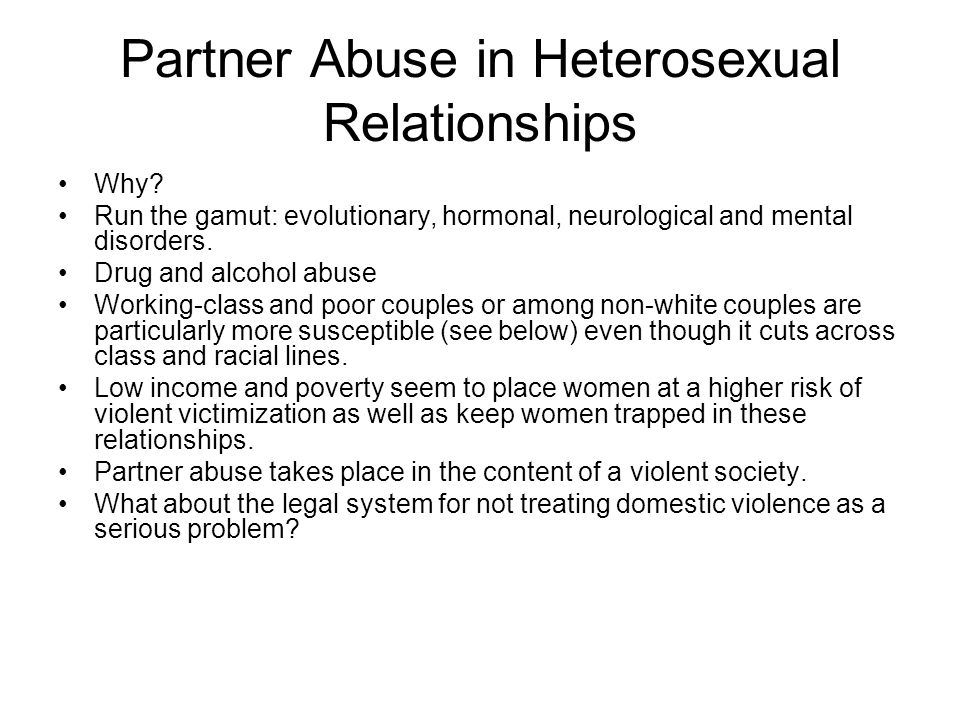 Partner Abuse in Heterosexual Relationships