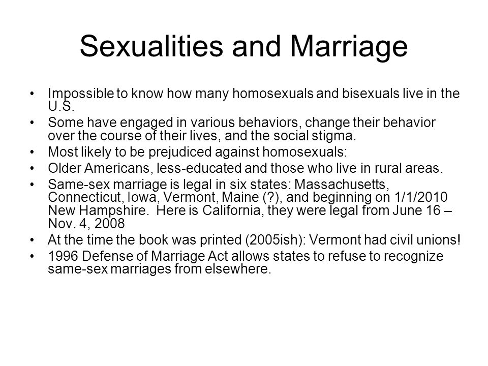 Sexualities and Marriage