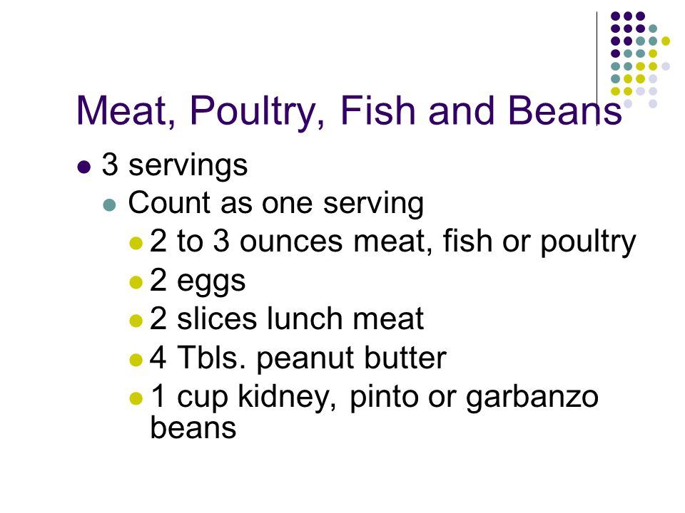 Meat, Poultry, Fish and Beans