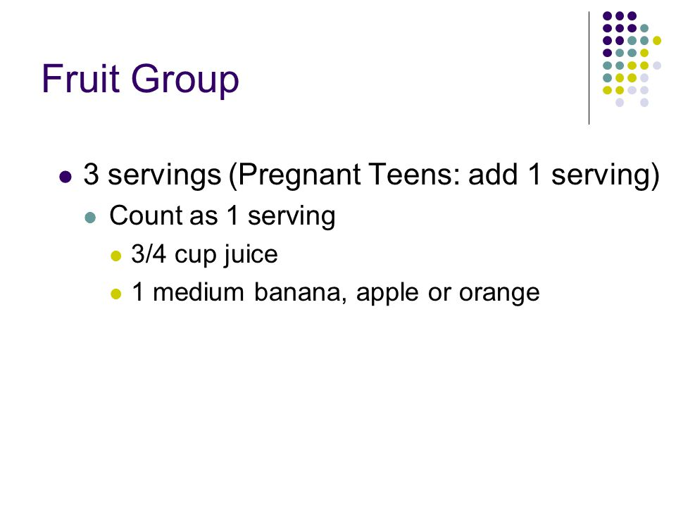 Fruit Group 3 servings (Pregnant Teens: add 1 serving)