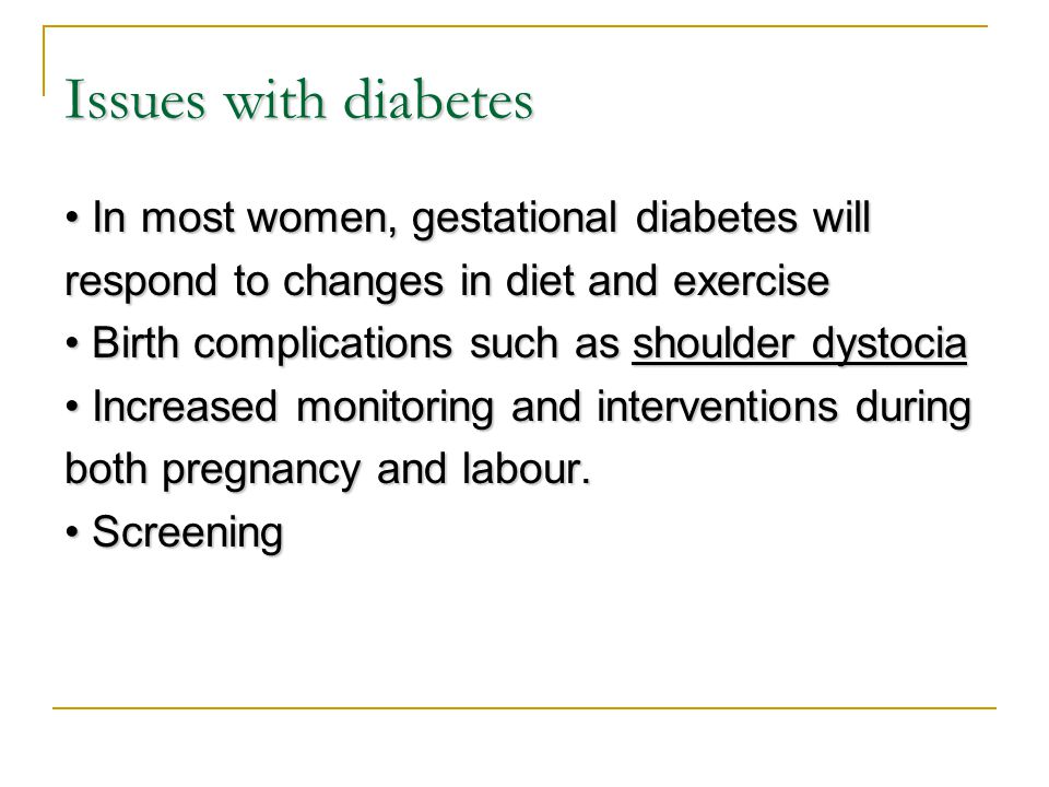 Issues with diabetes