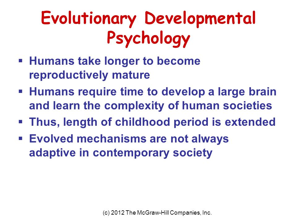 Evolutionary Developmental Psychology