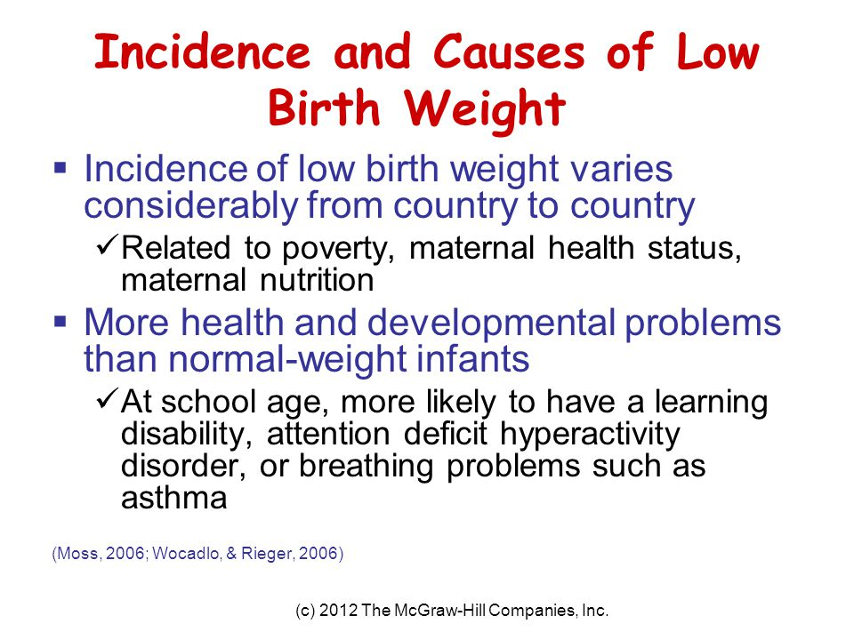 Incidence and Causes of Low Birth Weight