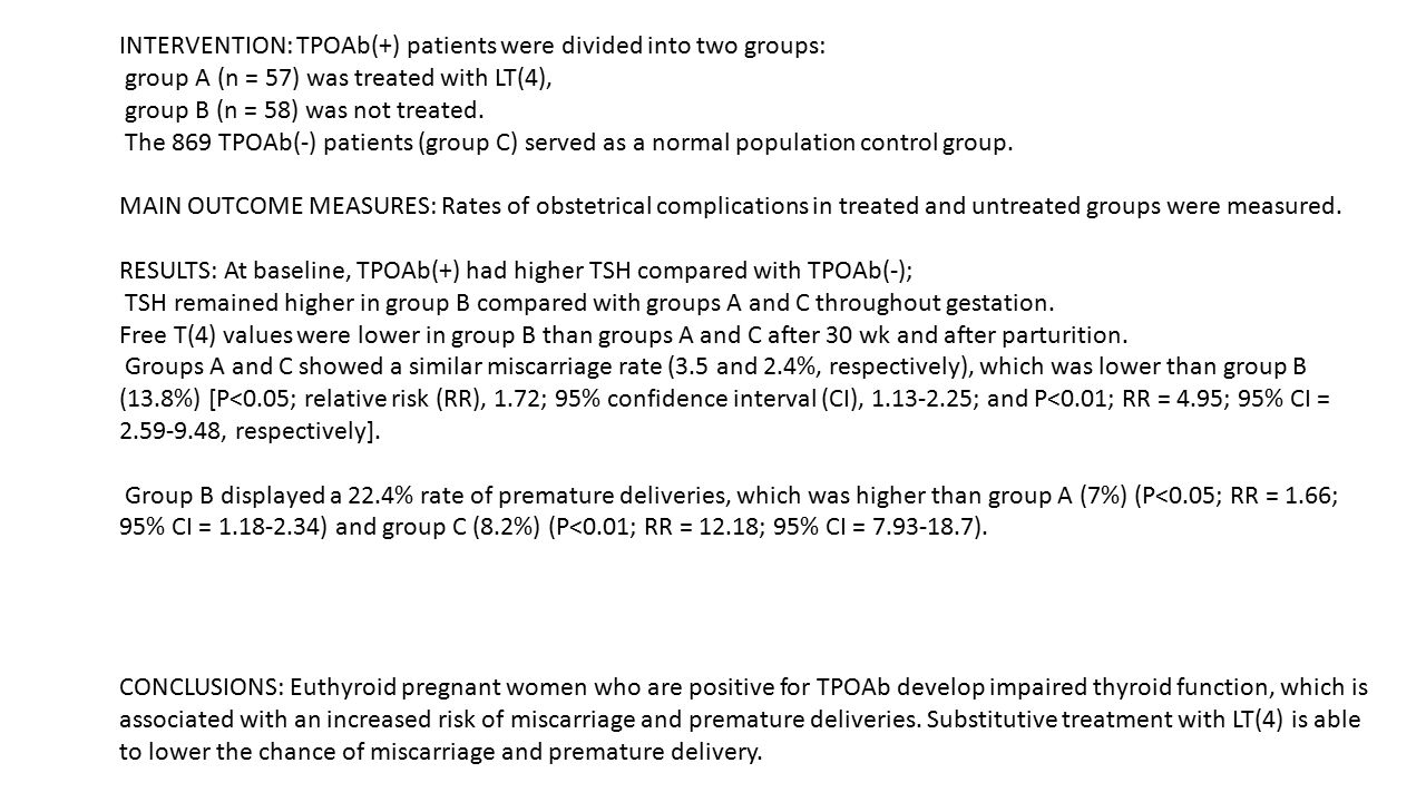 INTERVENTION: TPOAb(+) patients were divided into two groups: