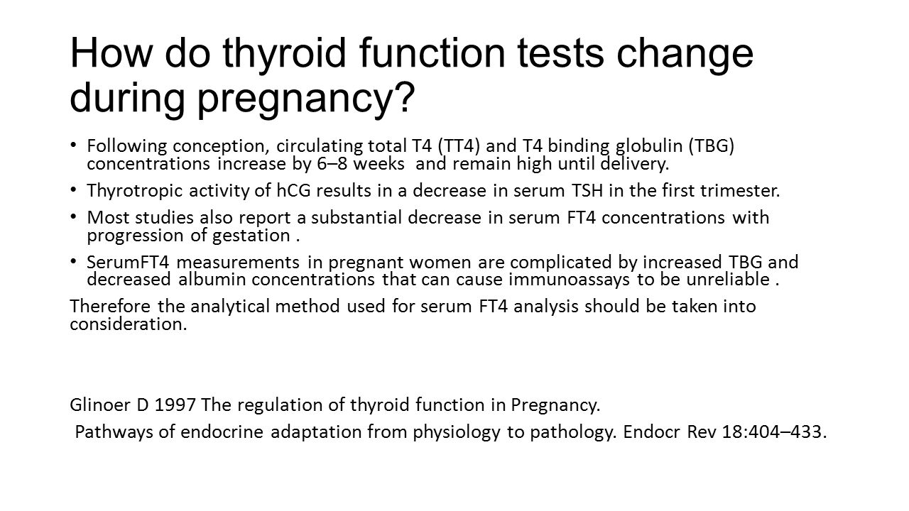 How do thyroid function tests change during pregnancy