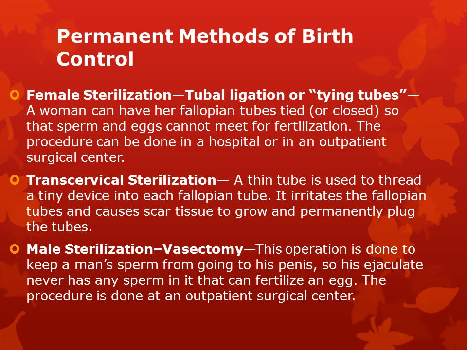 Permanent Methods of Birth Control