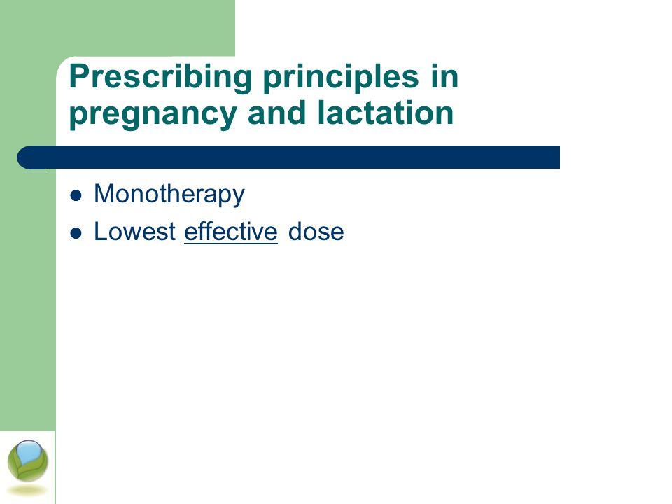 Prescribing principles in pregnancy and lactation