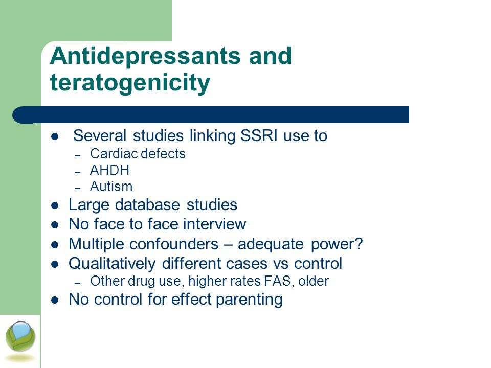 Antidepressants and teratogenicity