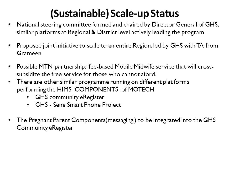 (Sustainable) Scale-up Status