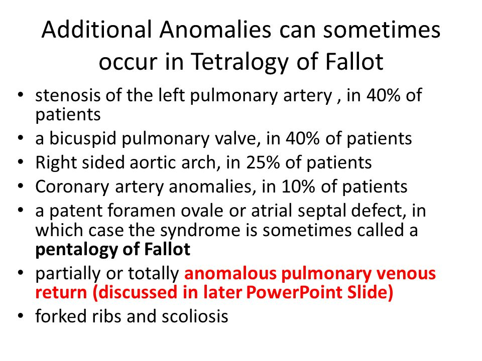 Additional Anomalies can sometimes occur in Tetralogy of Fallot