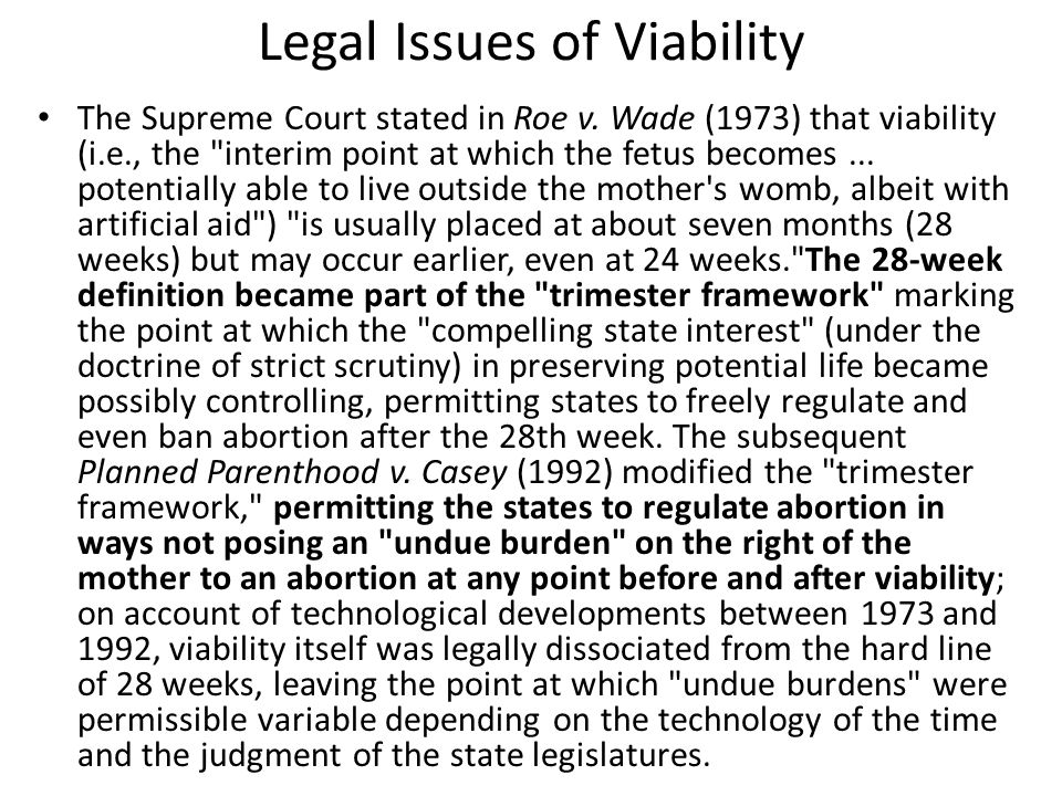 Legal Issues of Viability