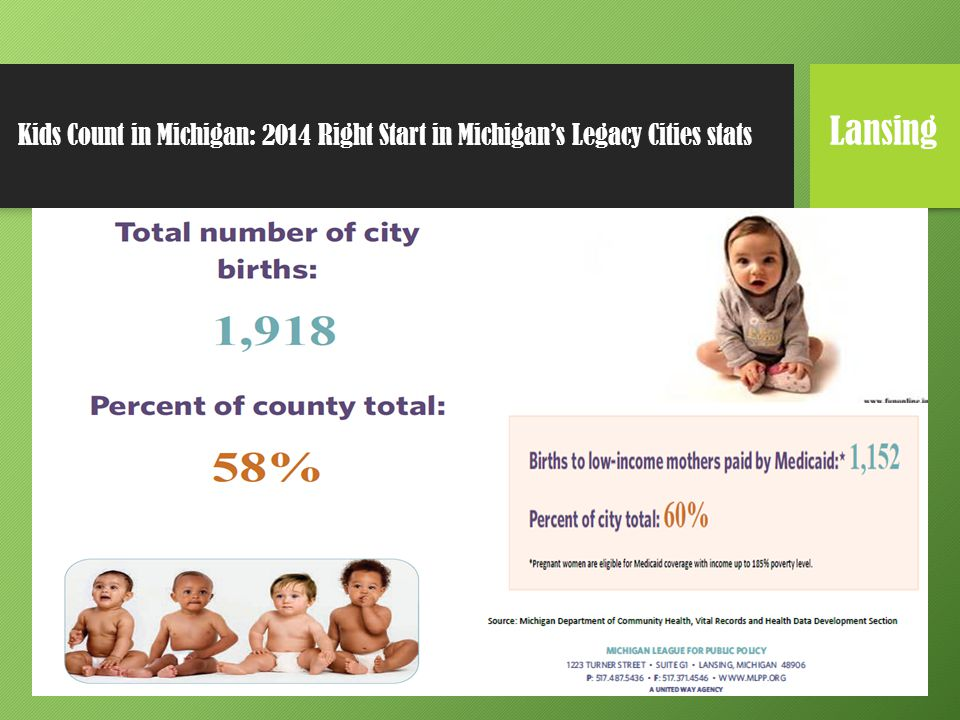 Kids Count in Michigan: 2014 Right Start in Michigan's Legacy Cities stats Lansing