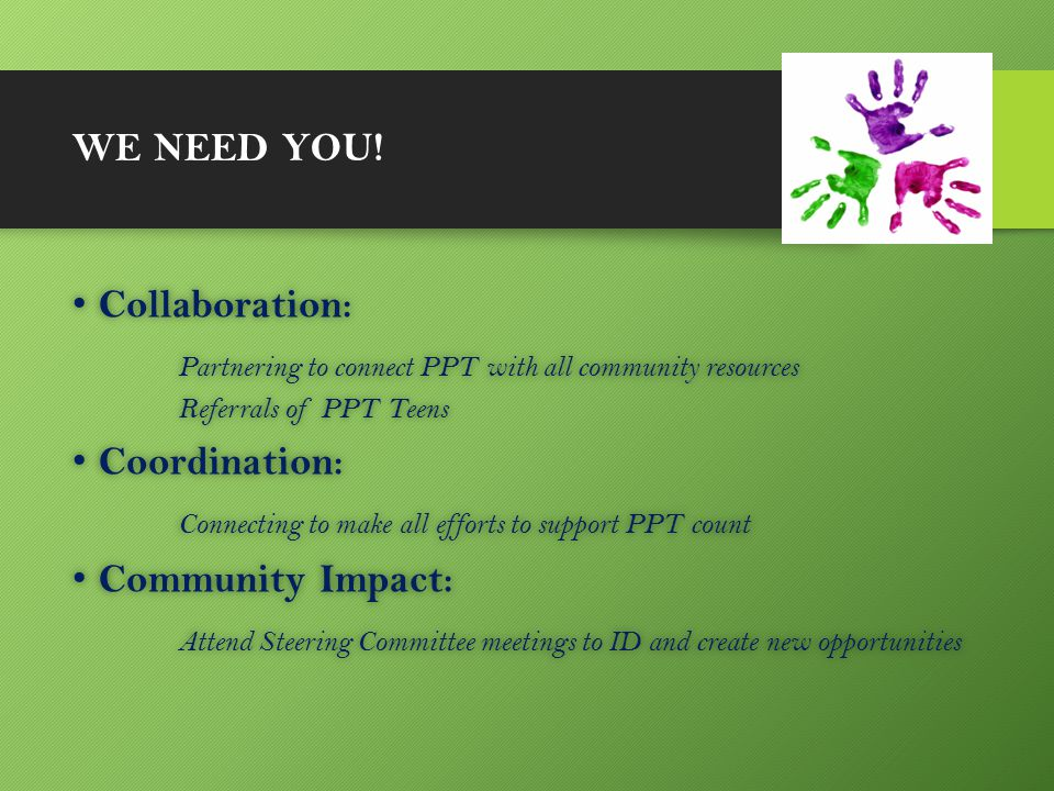 WE NEED YOU! Collaboration: