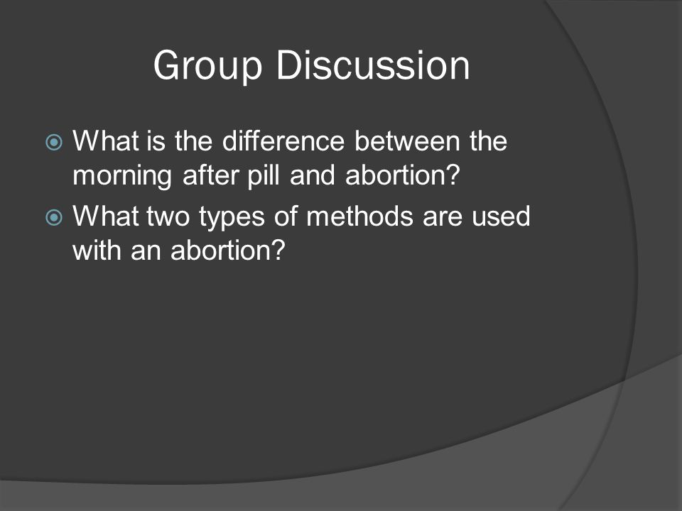 Group Discussion What is the difference between the morning after pill and abortion.