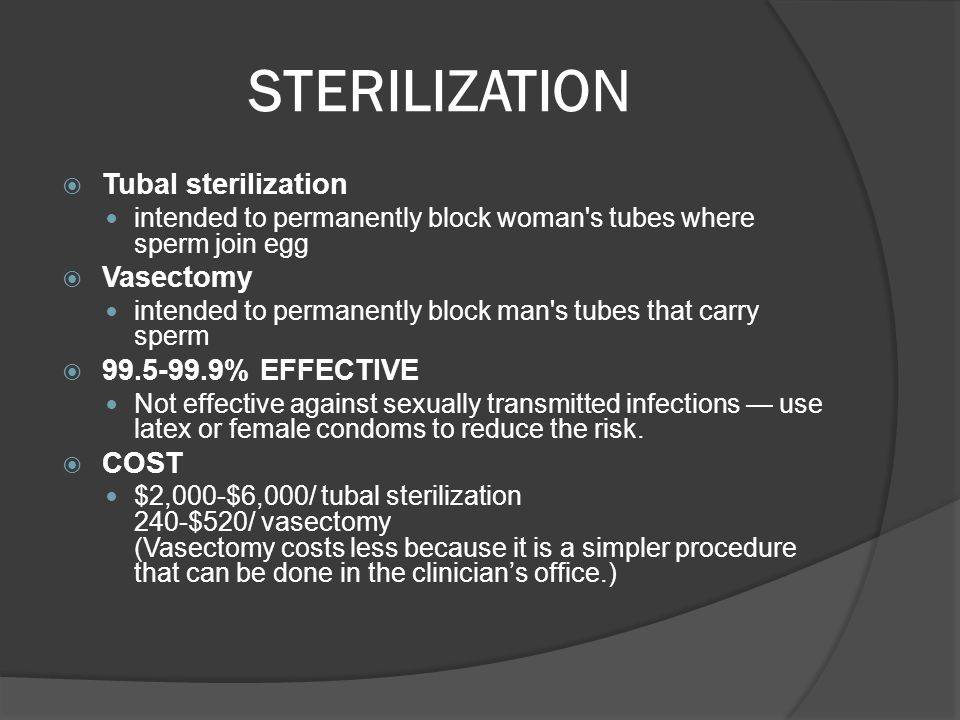 STERILIZATION Tubal sterilization Vasectomy 99.5-99.9% EFFECTIVE COST