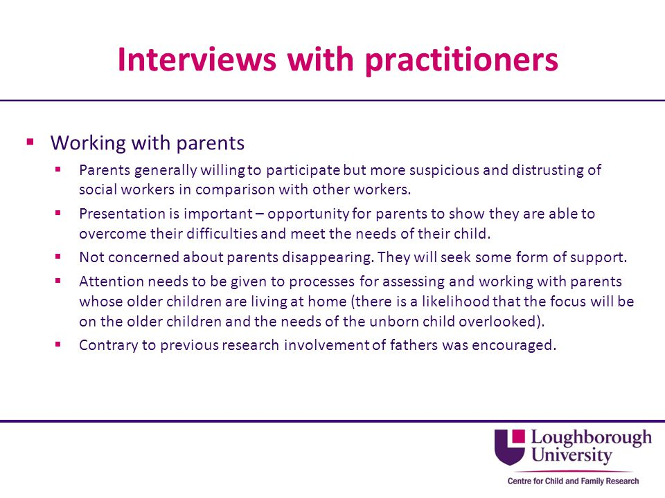 Interviews with practitioners