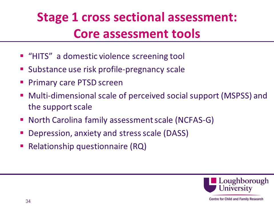 Stage 1 cross sectional assessment: Core assessment tools