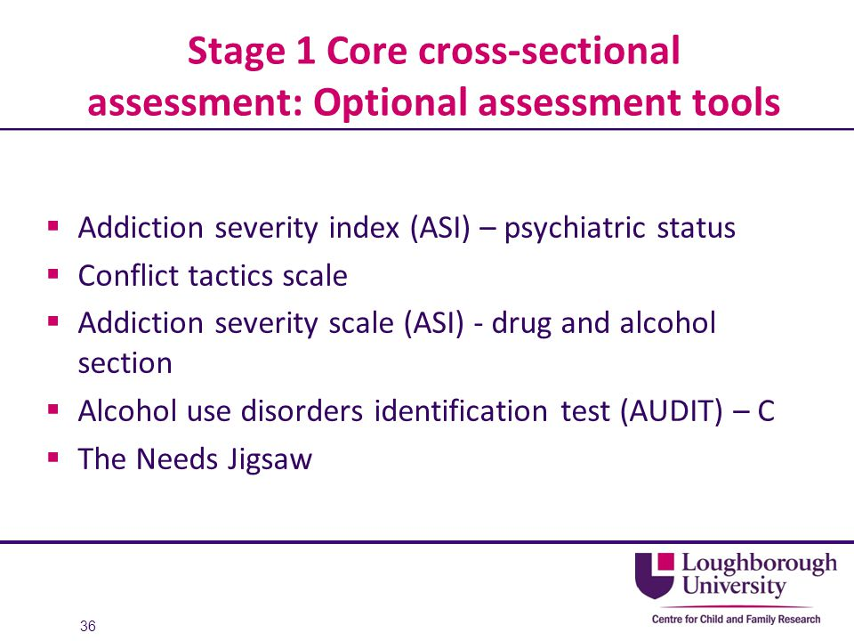 Stage 1 Core cross-sectional assessment: Optional assessment tools