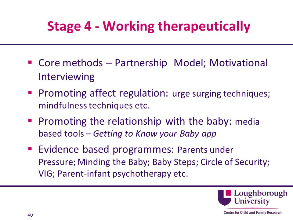 Stage 4 - Working therapeutically