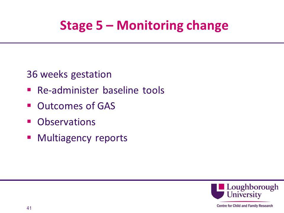 Stage 5 – Monitoring change