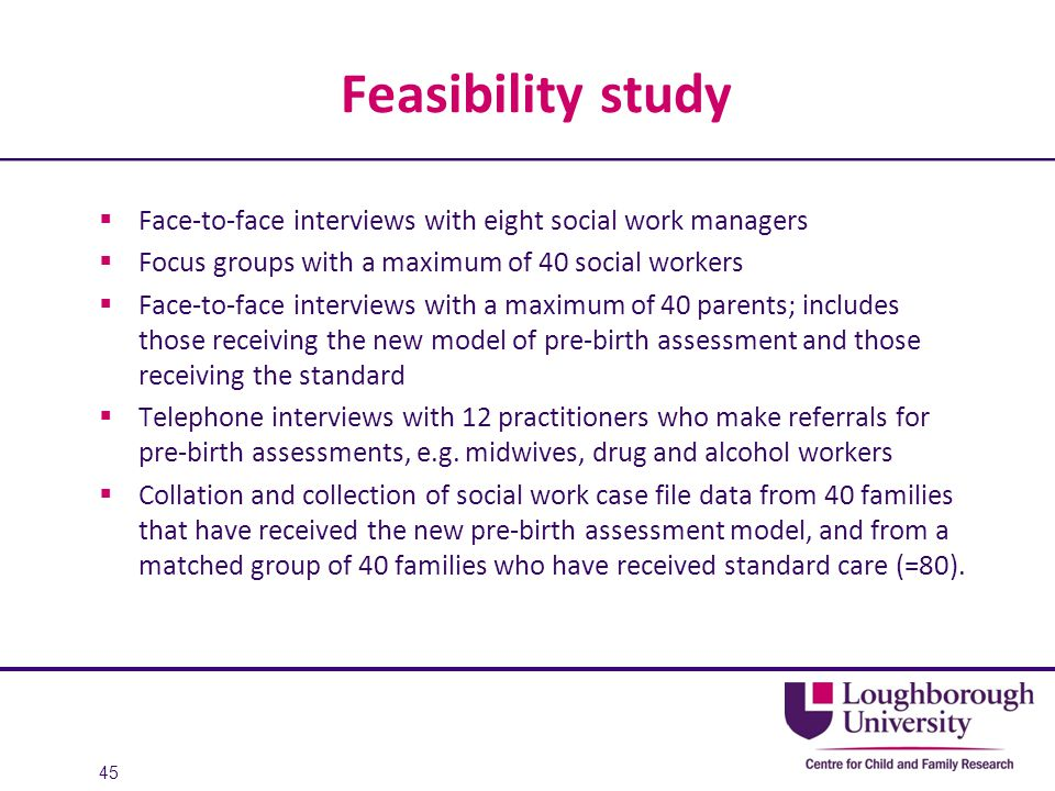 Feasibility study Face-to-face interviews with eight social work managers. Focus groups with a maximum of 40 social workers.